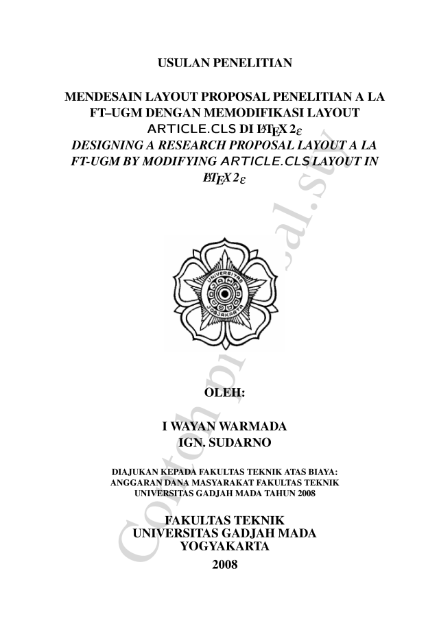 Paket Tambahan Proposal Sty Untuk Melayout Proposal Penelitian A La Ft
